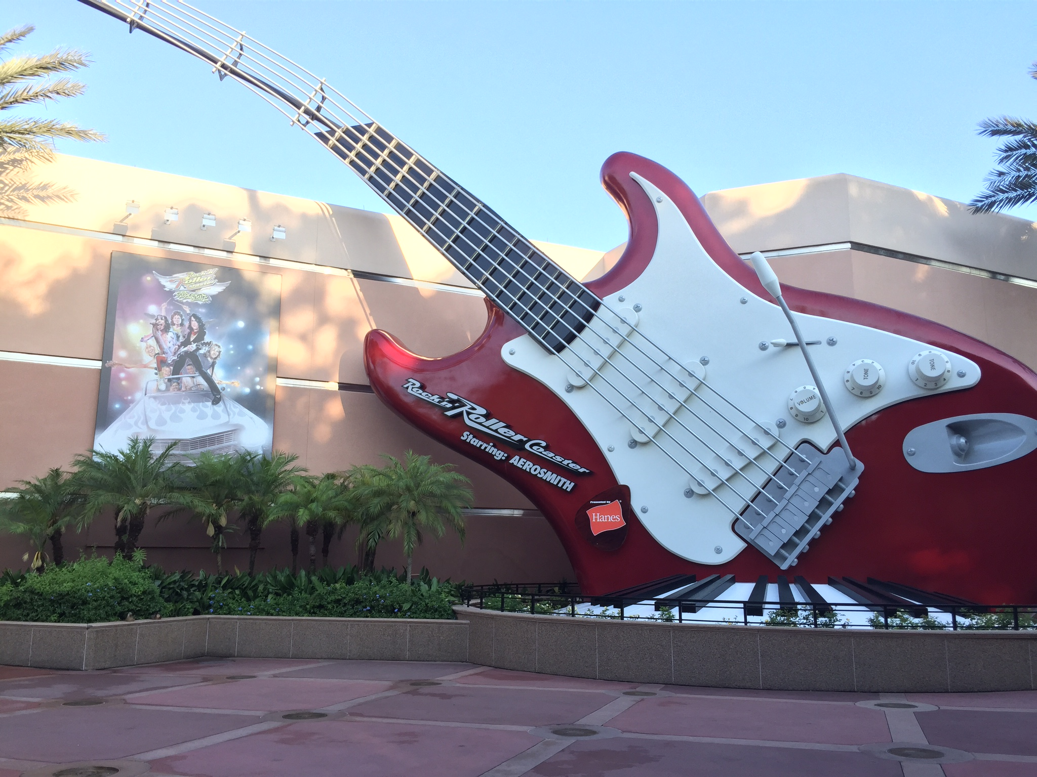 Giant guitar outside of Rock 'n' Roller Coaster Starring Aerosmith is a great photo backdrop