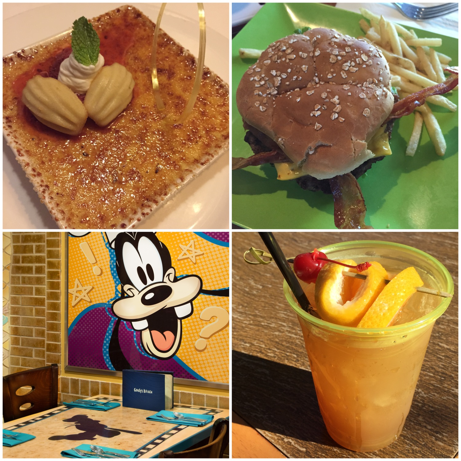 Clockwise from Top Left: Vanilla Creme Brulee from Steakhouse 55, Angus 1/3lb. Bacon Cheeseburger & Fries from Tangaroa Terrace, Goofy's Kitchen table setting, HippopotoMai-Tai from Trader Sam's Enchanted Tiki Bar