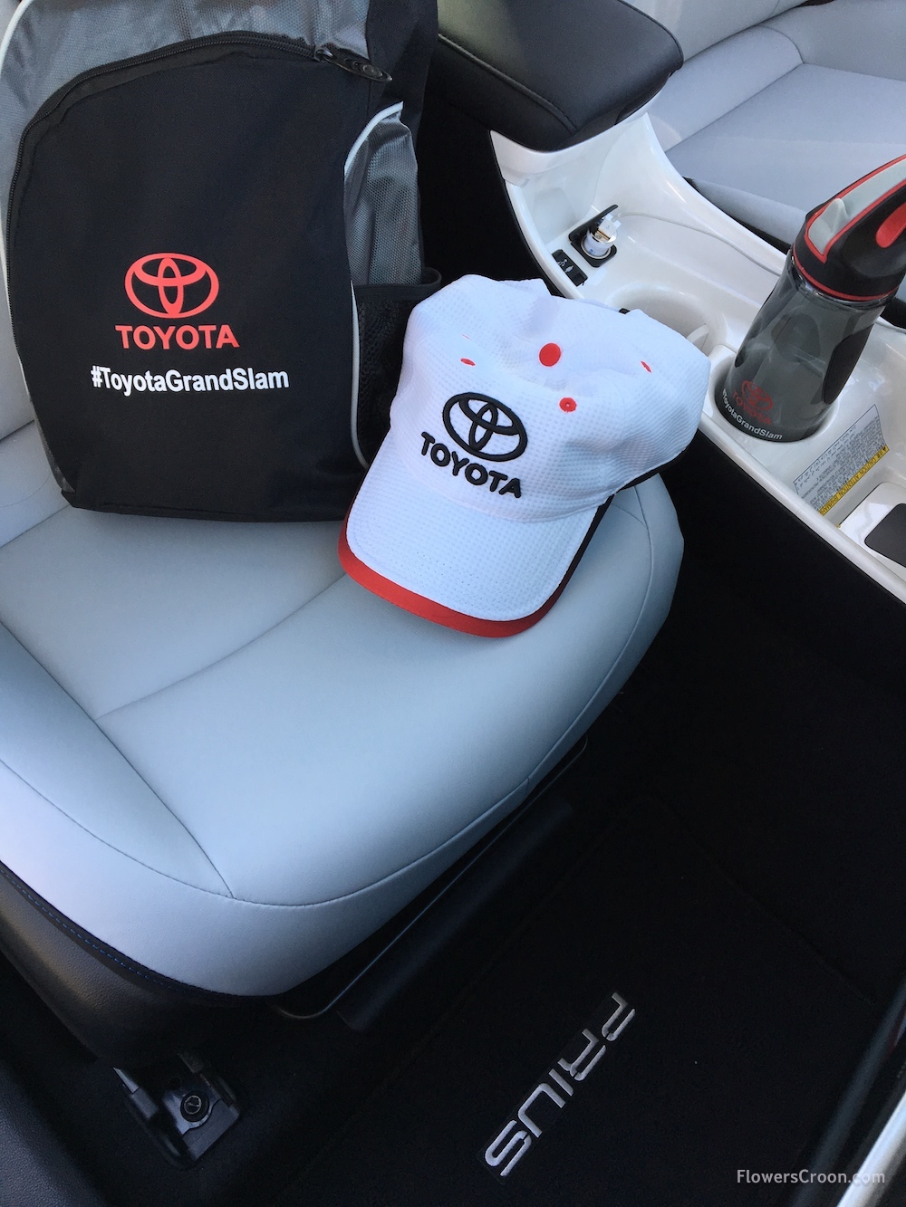 Roomy and comfortable front seats with cup holders and chargers. Ready to drive to Spring Training with my goodies from Toyota