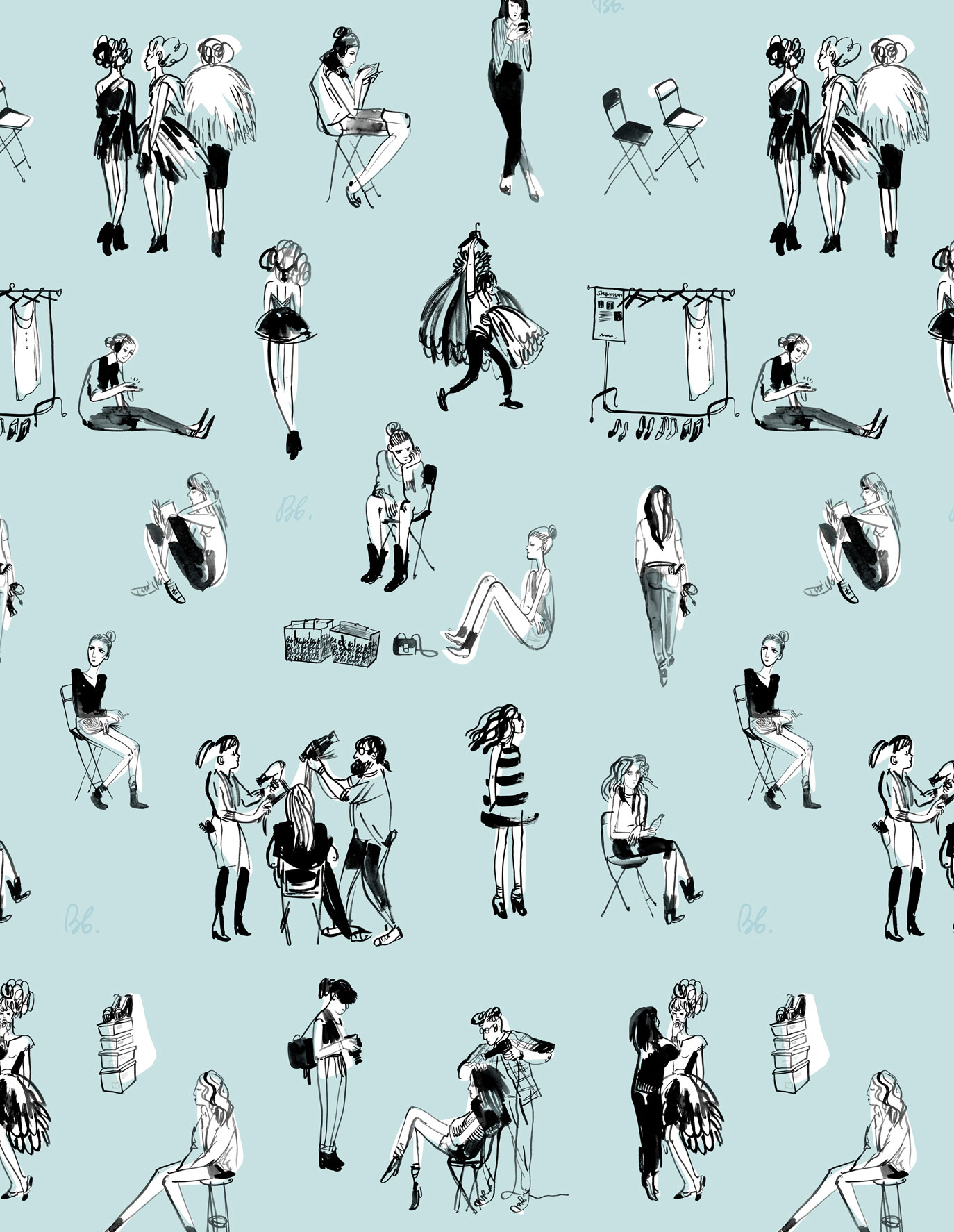 Uptown Salon Dressing Room Wallpaper