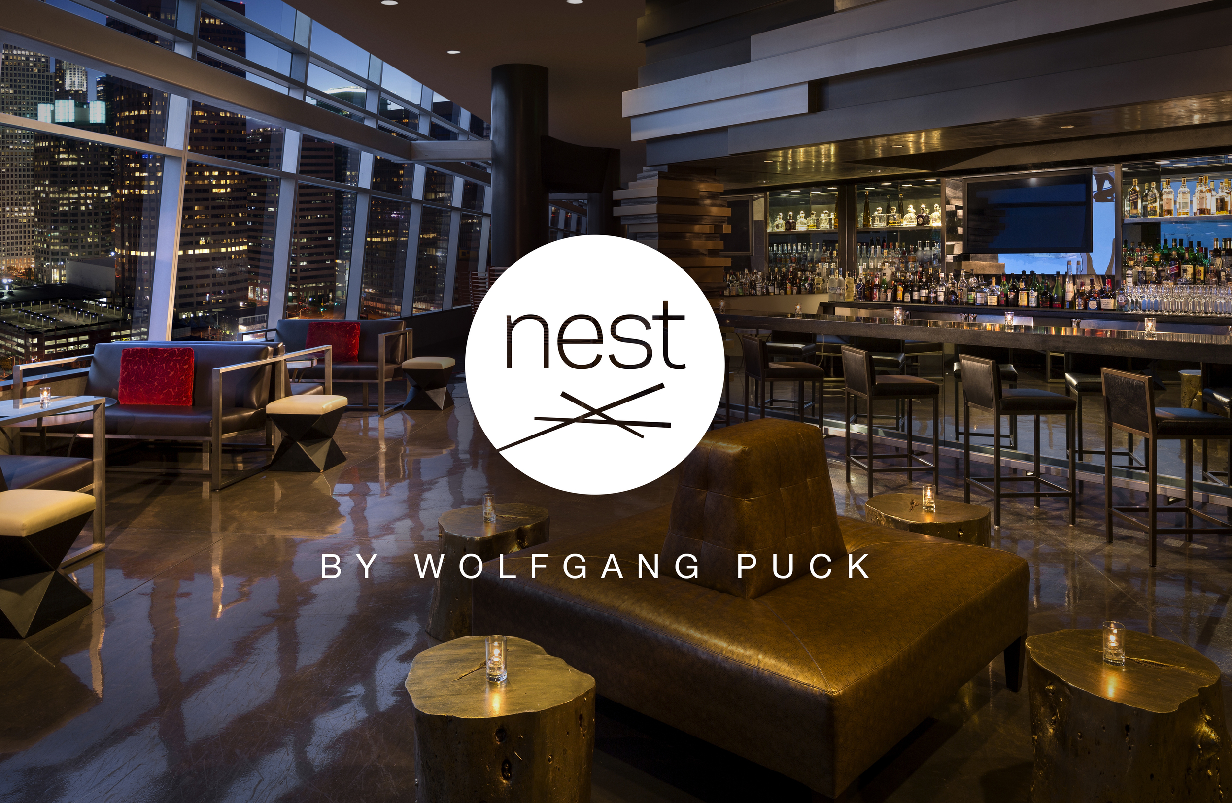 "Nest   •  ""Located on the 24th floor of The Ritz-Carlton, Nest at WP24 offers a dedicated menu of Asian-inspired snacks, appetizers, sushi and large plates, serving as a relaxed counterpart to the upscale fine dining experience of WP24...""  Designed at   Meat and Potatoes  . Creative Director: Todd Gallopo."