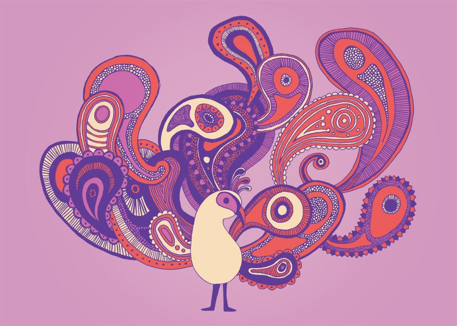 Purple Paisley Peacock