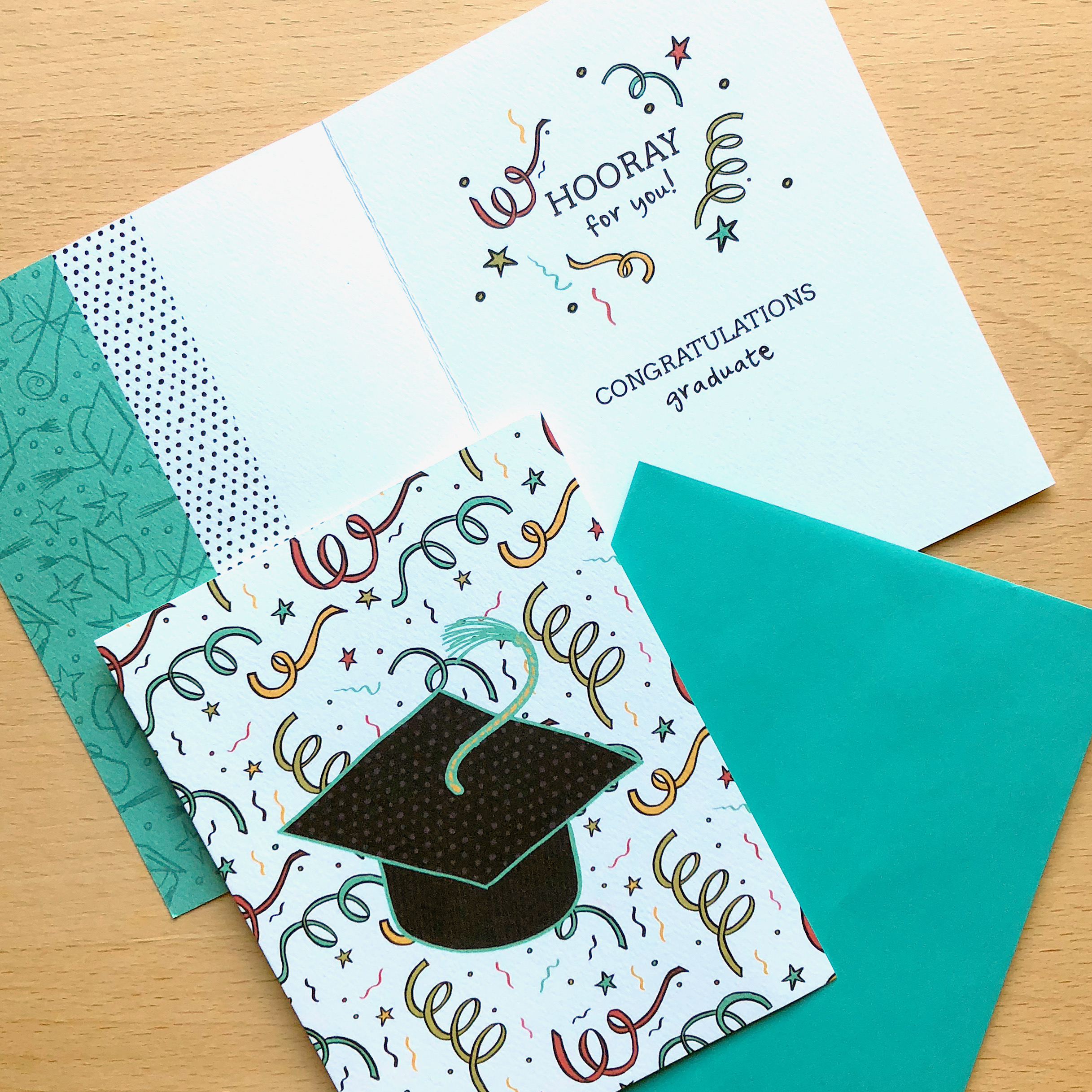 Graduation greeting card from my  Rising Star  collection.  Licensee:  Gina B Designs • Available  here .