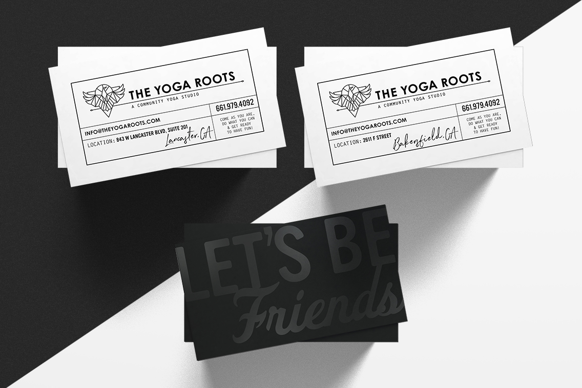 We created some raised spot gloss business cards from Moo for that black-on-black look.