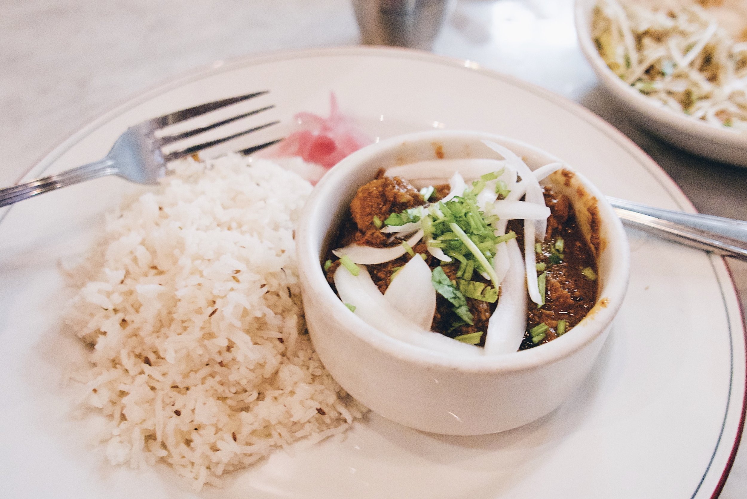 Goan Pork Curry - There were four main courses to choose from, but Brandon and I both wanted the Goan pork curry. When a menu item is described as