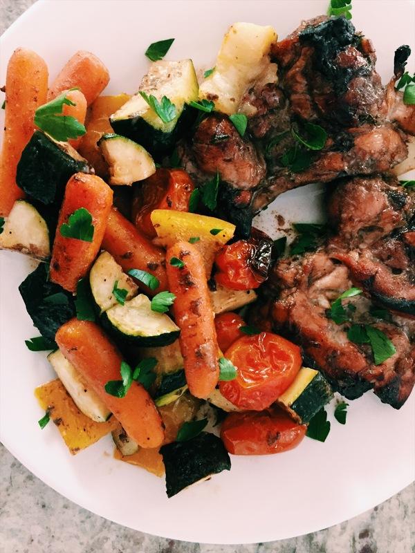 honey balsamic chicken and veggies