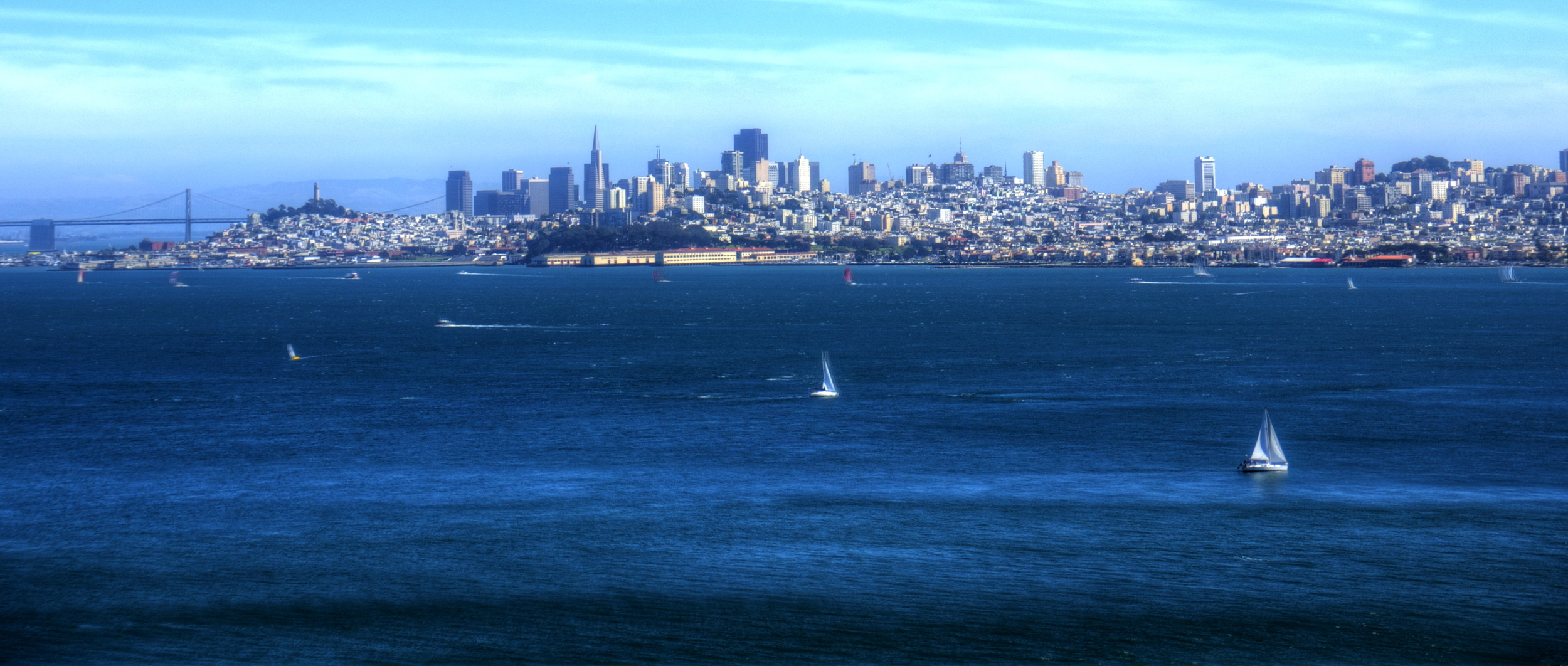 Sailing the bay, backdropped by the San Francisco skyline.