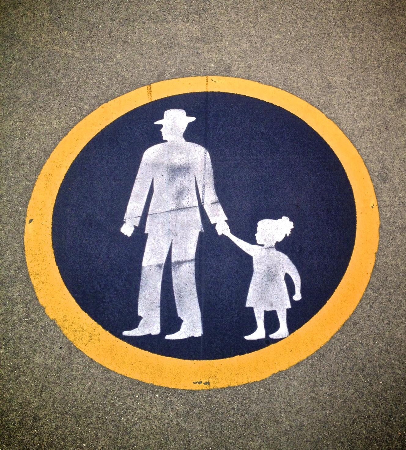 A rather bizarre icon to represent pedestrians.