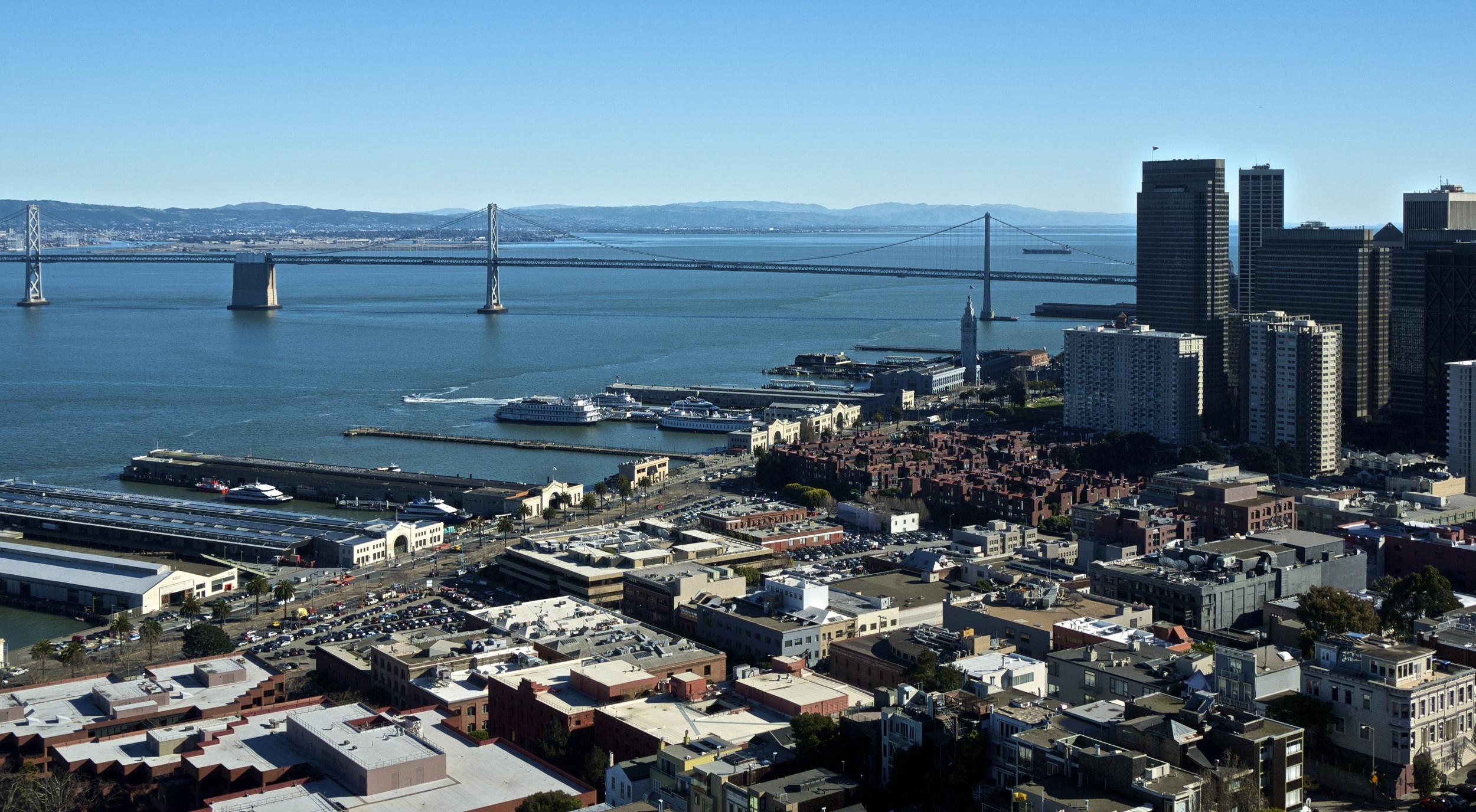 San Francisco Bay Bridge seen from Coit Tower