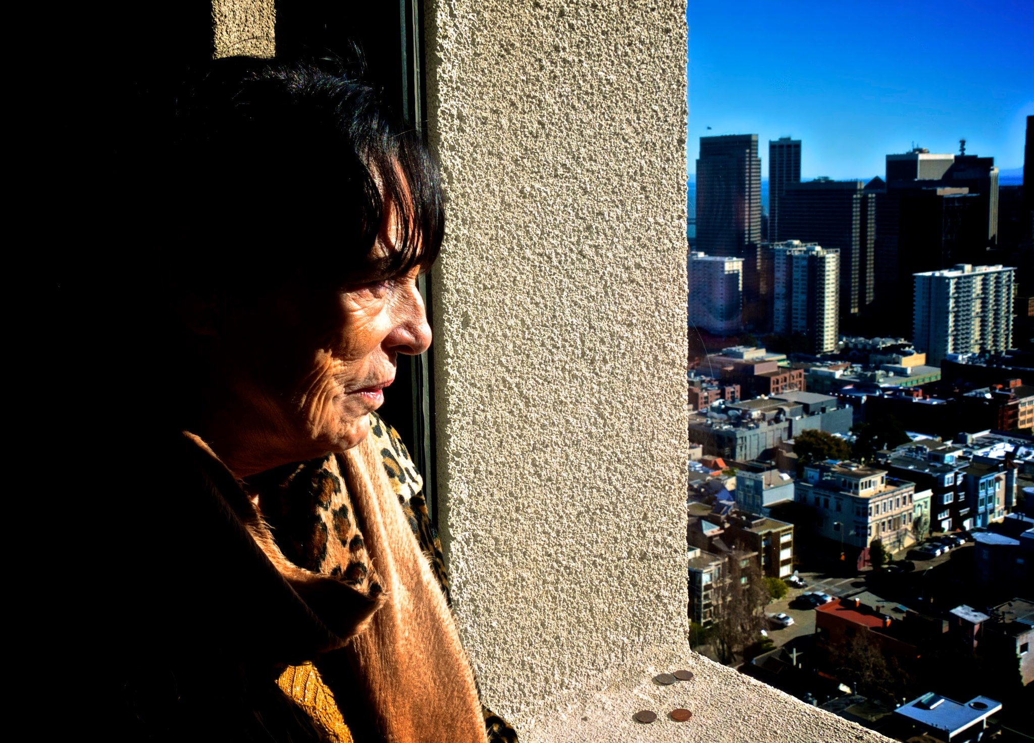 Me mum looking out Coit Tower