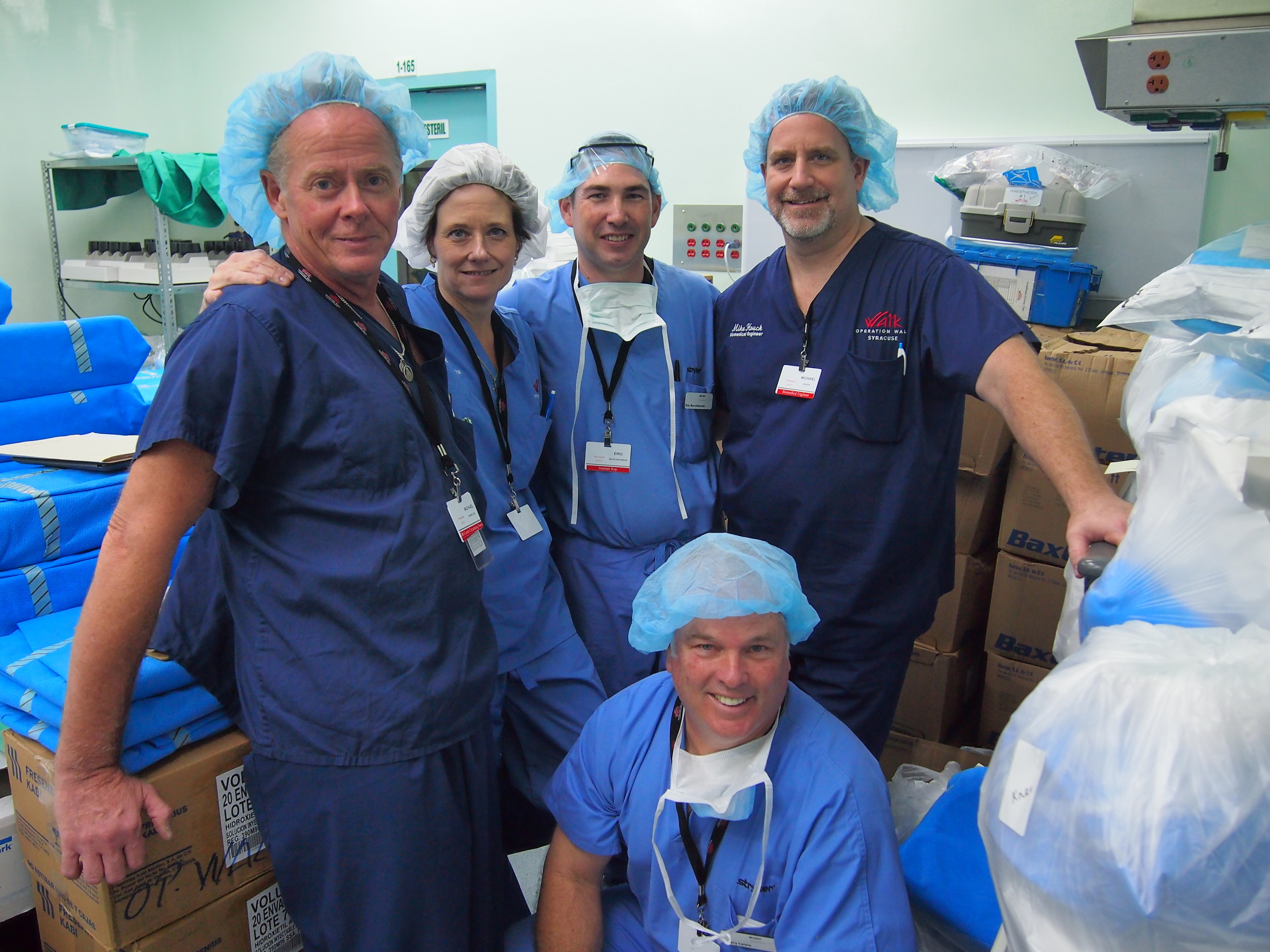 Pictured here are critical members of the supply team. Mike O'Hara, Kim Murray, Eric Marcinkowski, Mike Houck and Gary Lewis.  Mike, Kim and Mike all work for St. Joseph's Hospital Health Center and Eric and Gary both work for our implant donator Stryker.