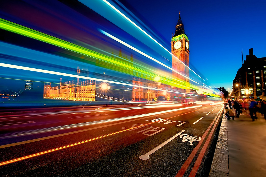 Still one of my most favorite shots ever - a double-decker bus blurs past Big Ben (single exposure - click to enlarge)