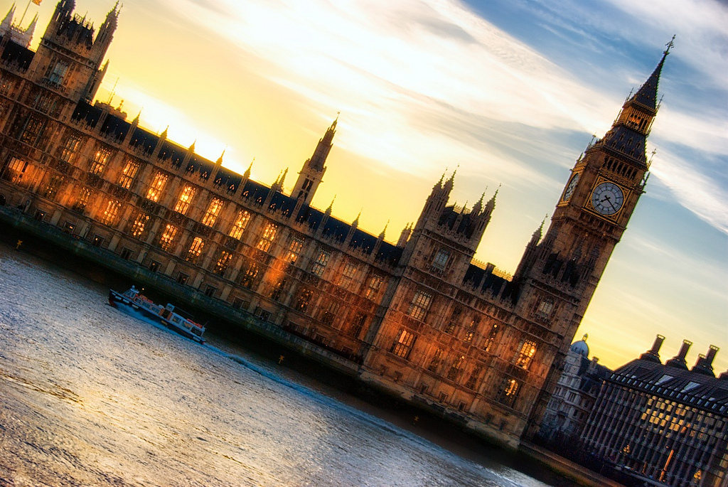 A tilted view of Big Ben during sunset (click to enlarge)