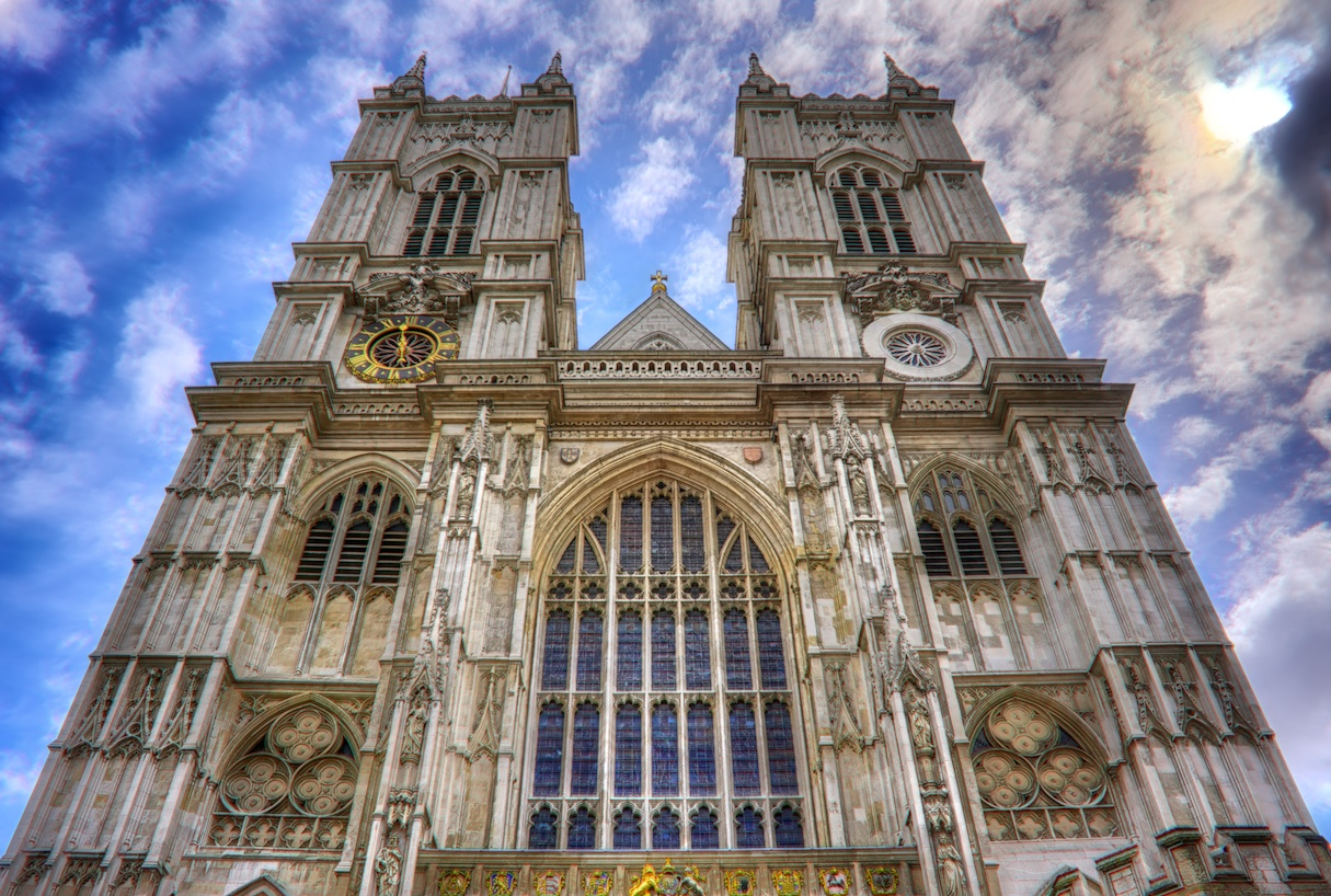 Looking up at the facade of Westminster Abbey - really just a beautiful building.