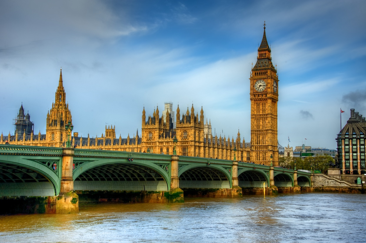 Morning light on Westminster Bridge, with Big Ben standing tall at the end.
