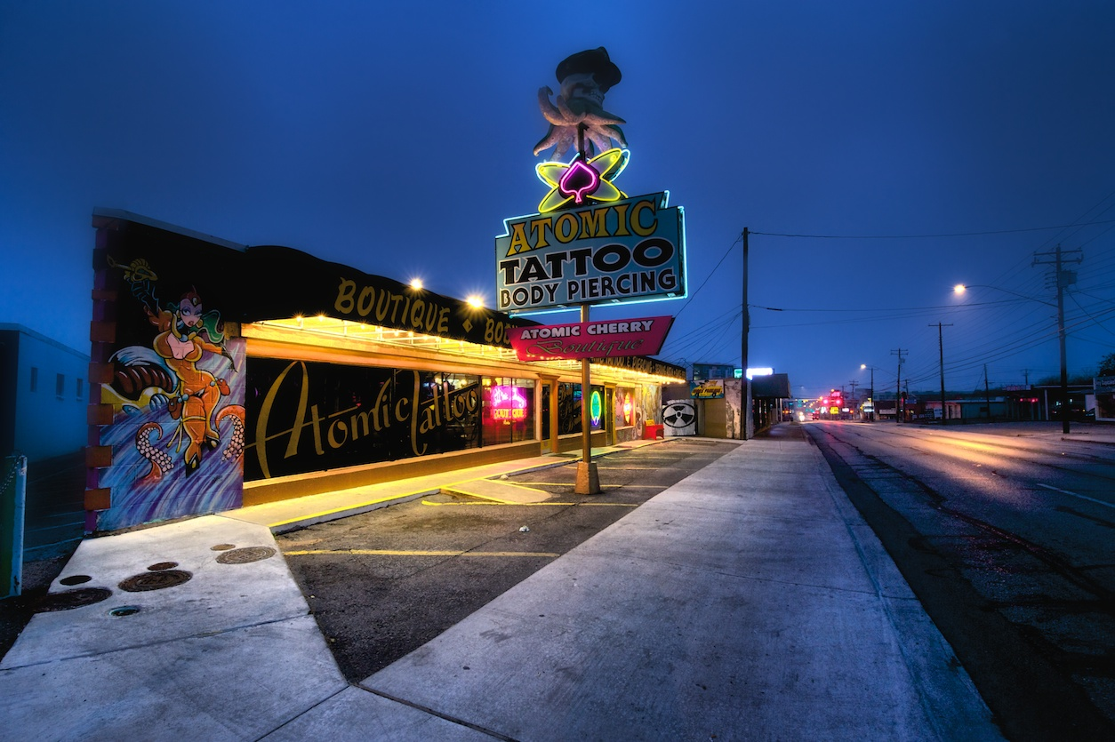 Atomic Tattoo - some great graffiti-style stuff on this building!