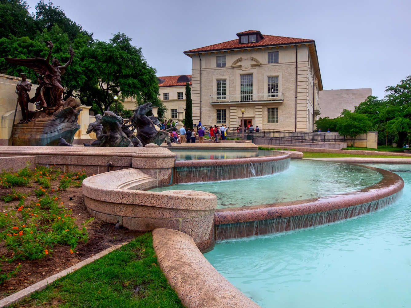 Littlefield Fountain, a well-known spot on the University of Texas at Austin campus.