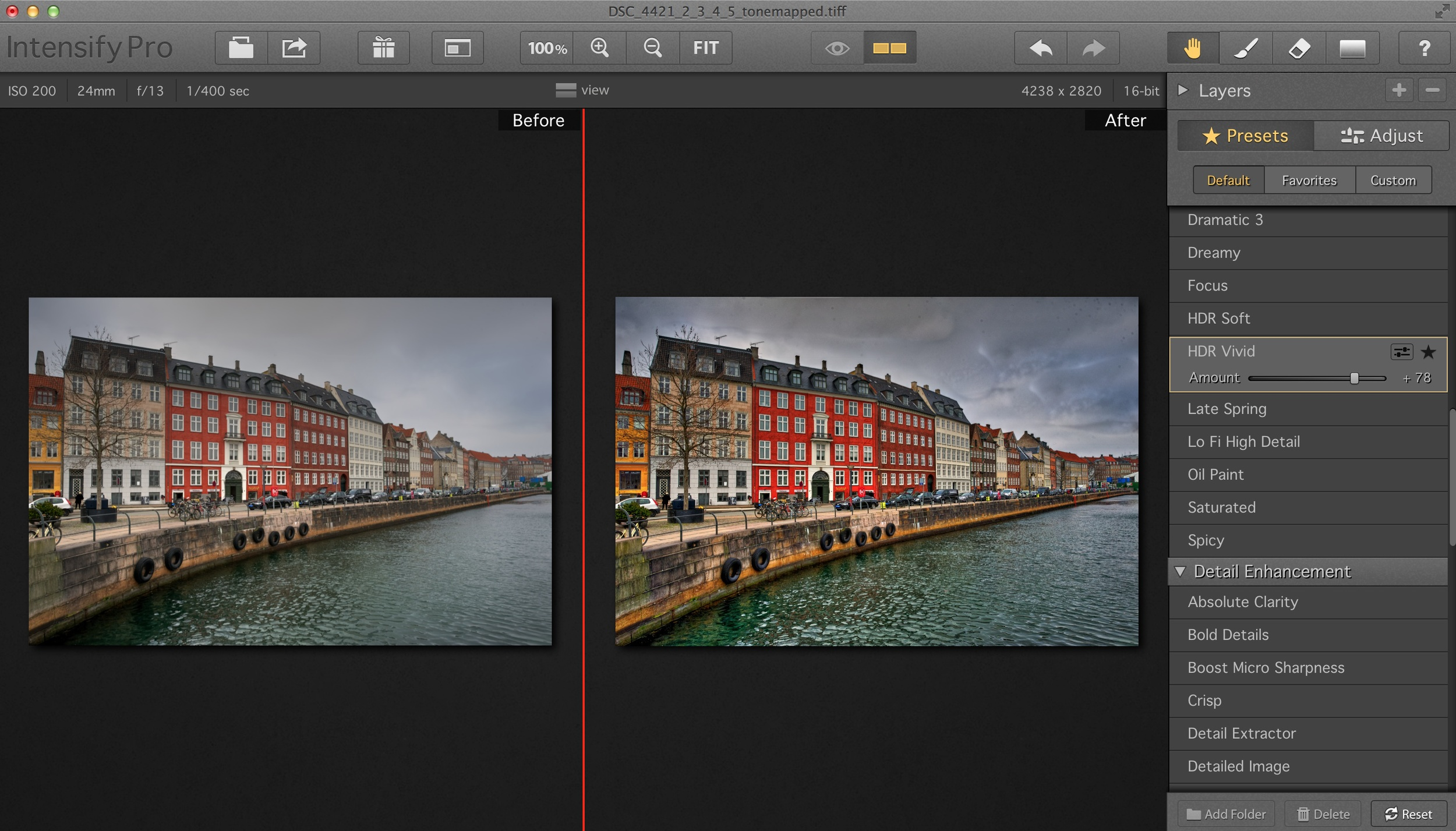 Here's a side by side comparison of the original (left) and the HDR Vivid preset (right).