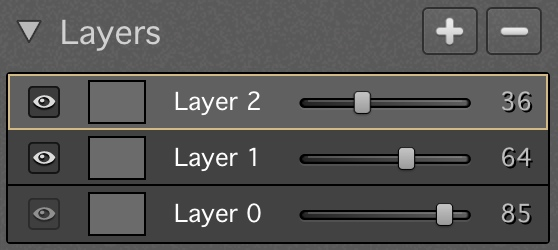 Here's a screenshot of the Layers section, with 2 new layers on top of the base layer, each with different opacity settings.  You can really do a lot with this Layers functionality!