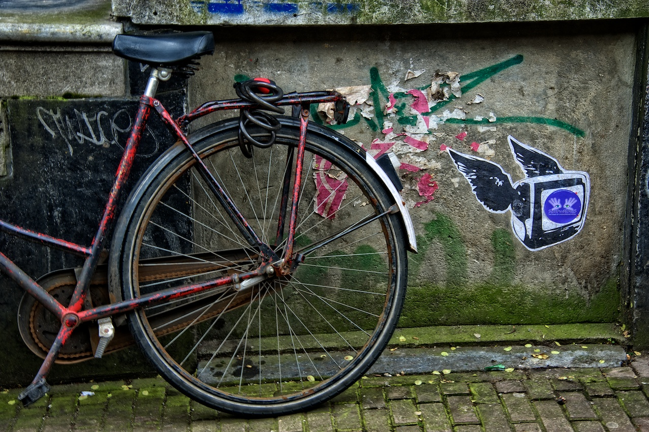 Just a bike leaning against a wall in some overlooked alleyway in Amsterdam...