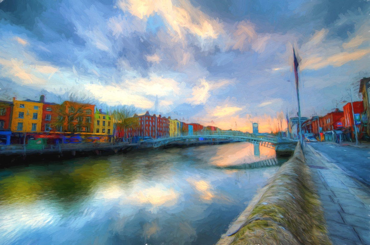Sunrise along the River Liffey in Dublin - adjusted in the style of Cezanne.