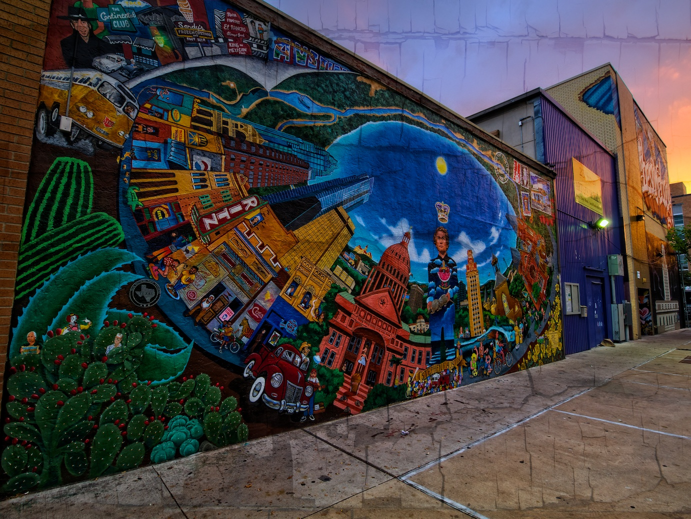 a wider view of the mural with a little texture added, courtesy of perfect effects!