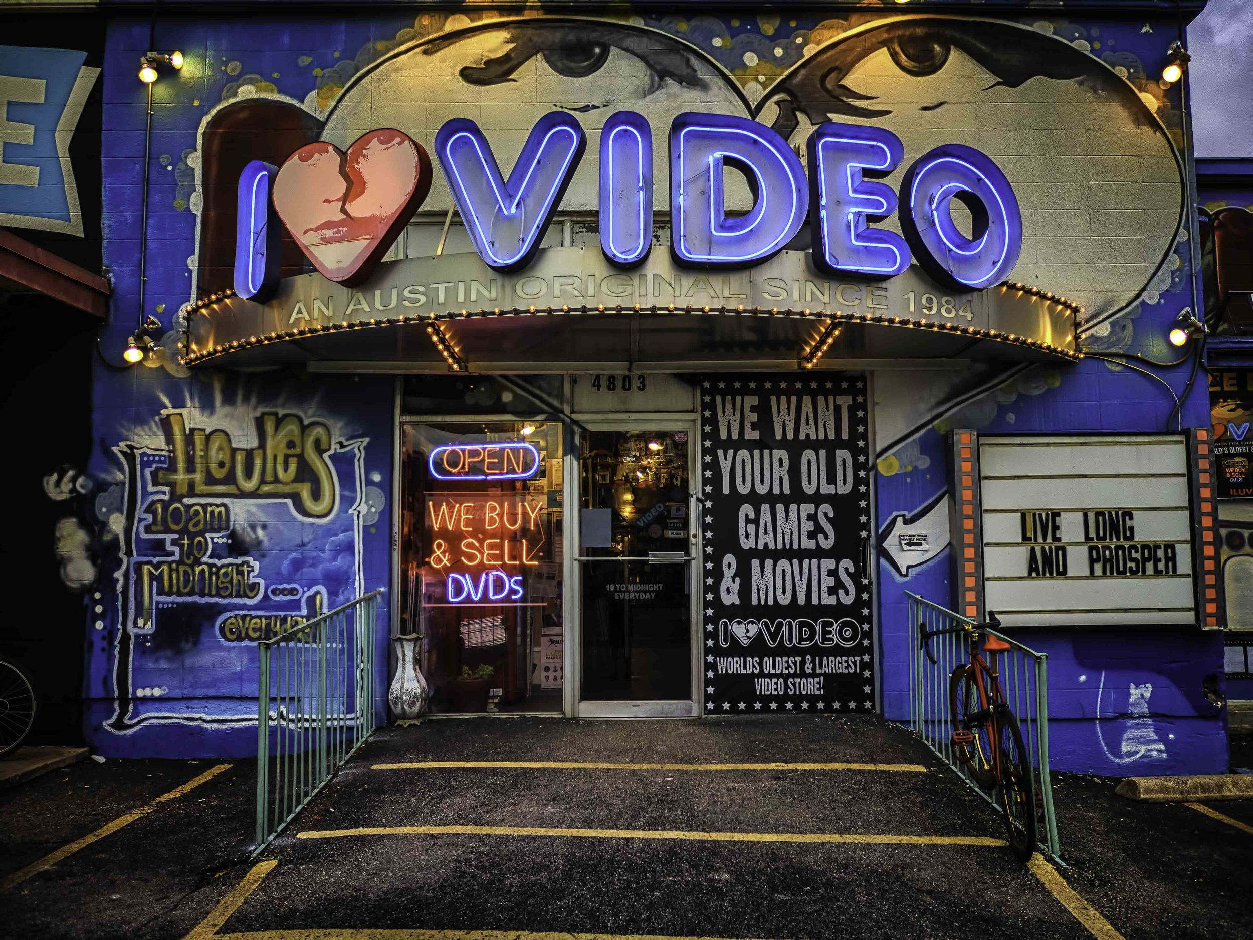 I Love Video (I Heart Video, maybe?) is on Airport Blvd and I just had to run by here for a couple of shots.