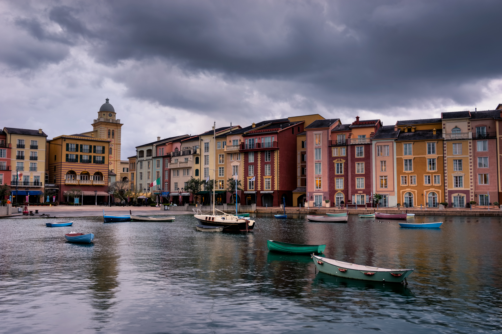 Cloudy, dramatic skies over Portofino Bay Resort in Orlando, FL