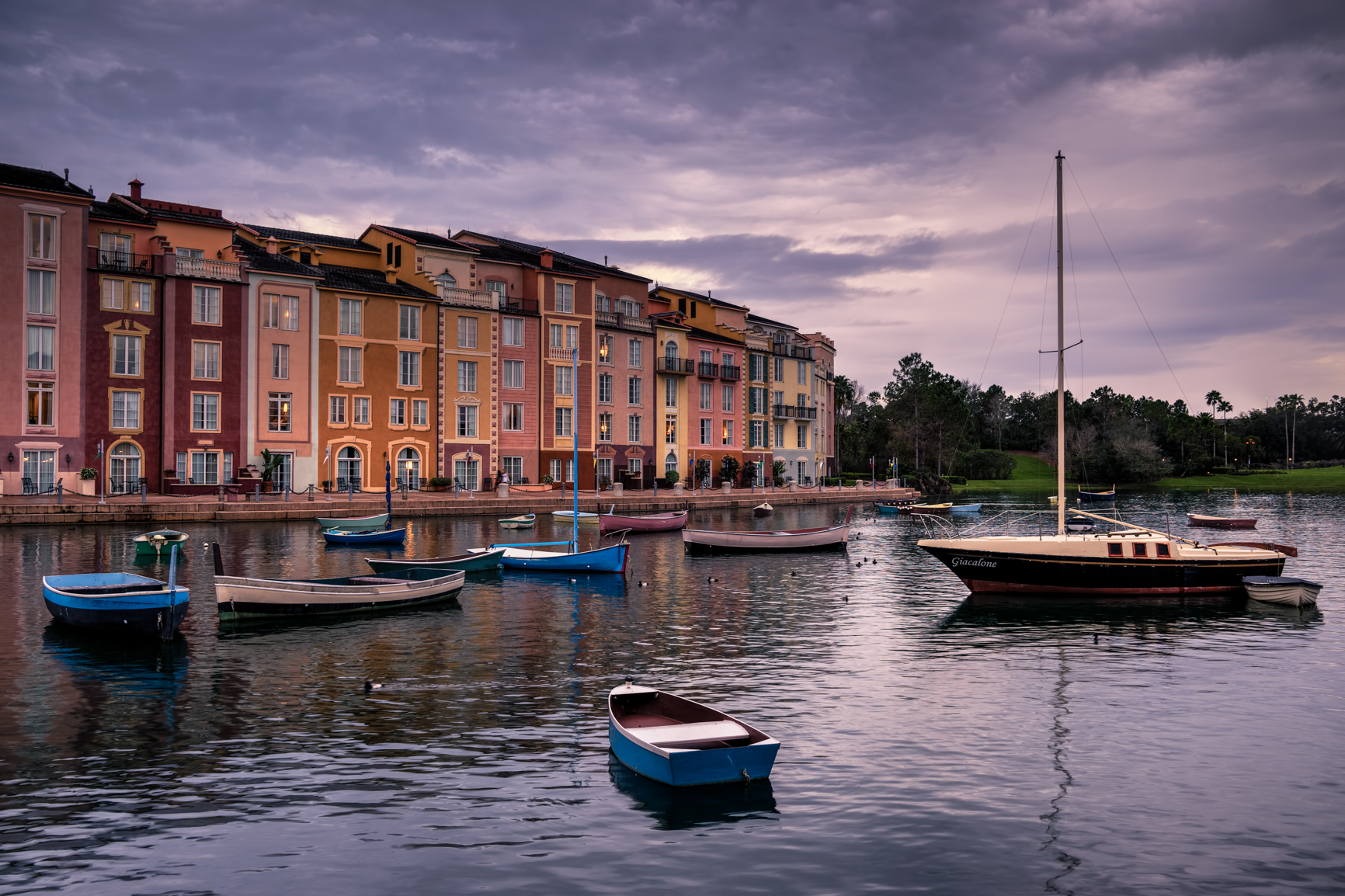 Sunset light over the marina at Portofino Bay Resort in Orlando, FL