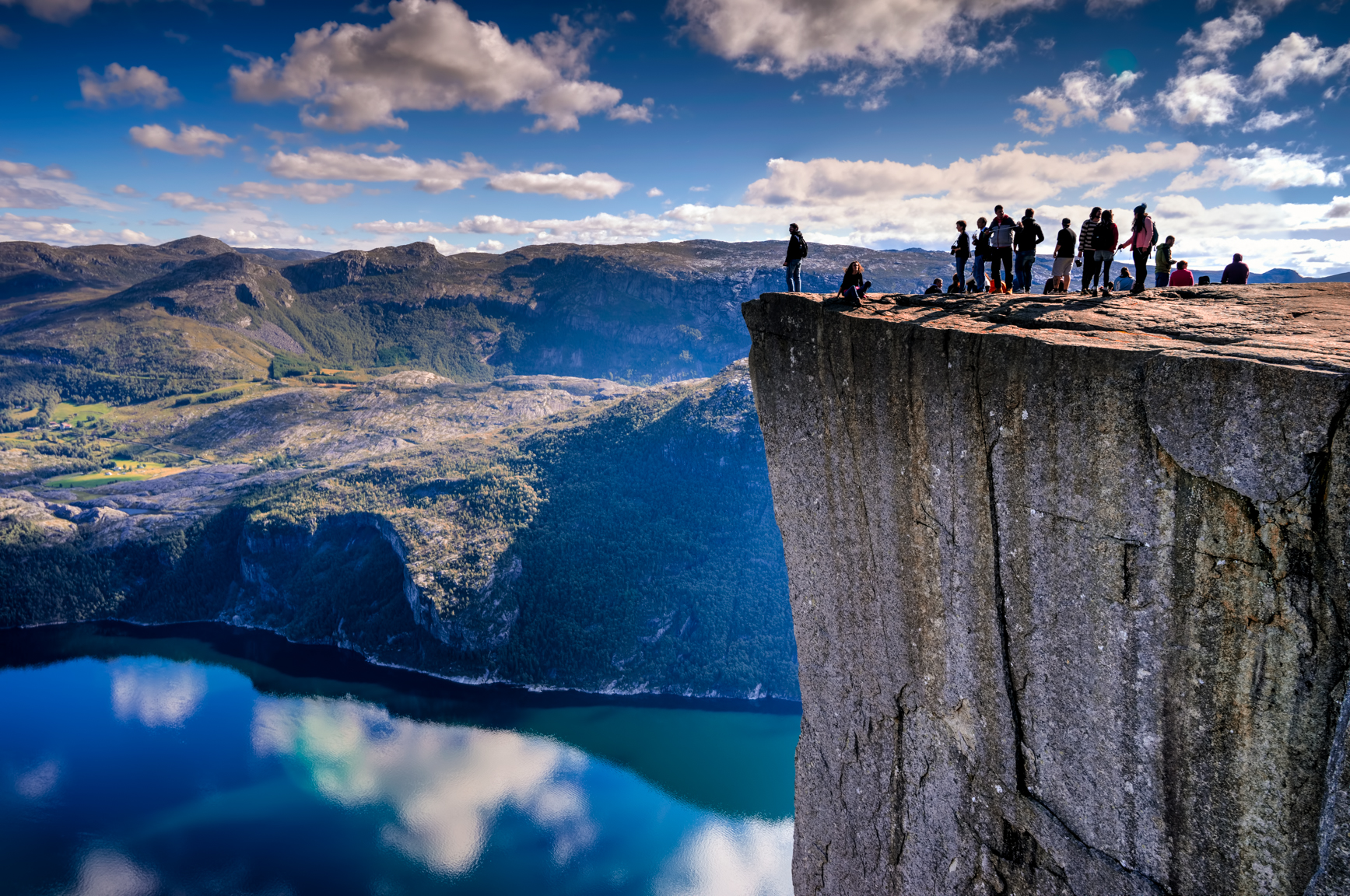 3 exposure HDR, f/13, tripod, ISO 100, 60mm -- Pulpit Rock, Norway