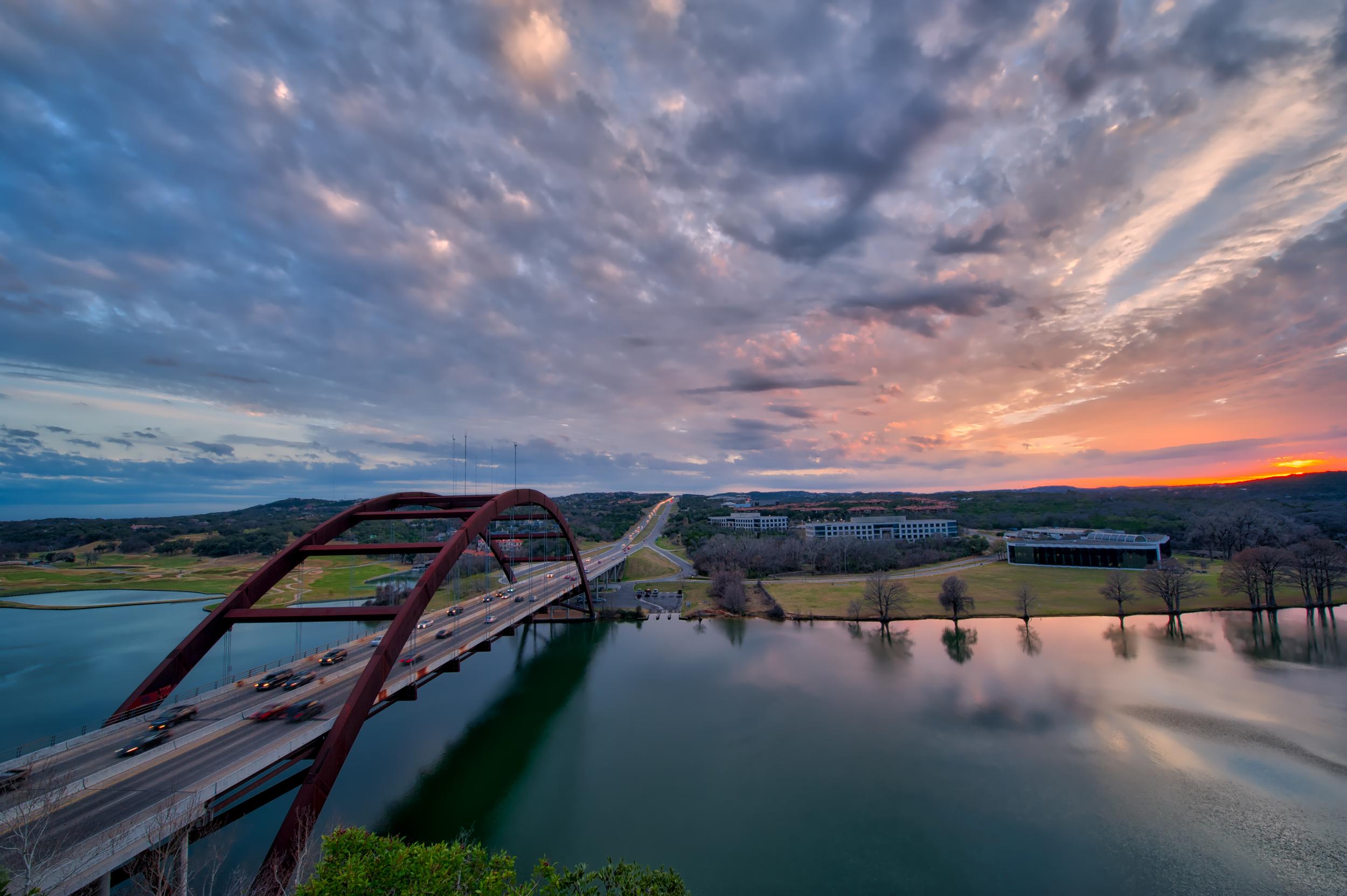 Sunset over the Loop 360 Bridge in Austin, TX