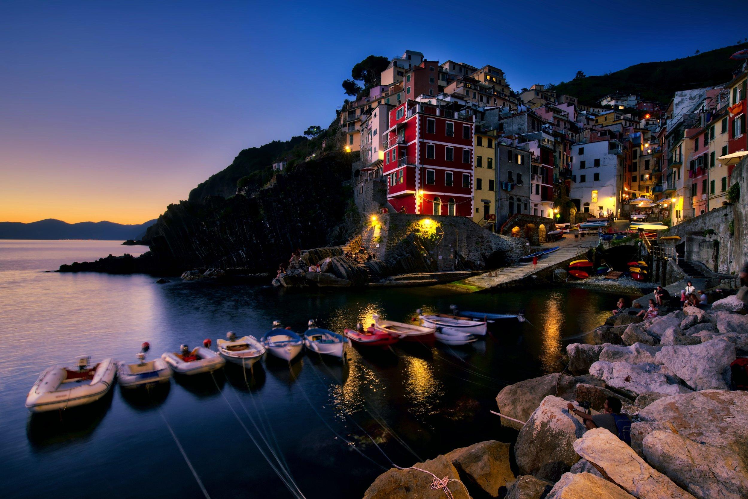 Blue hour falls on the coastal village of Riomaggiore