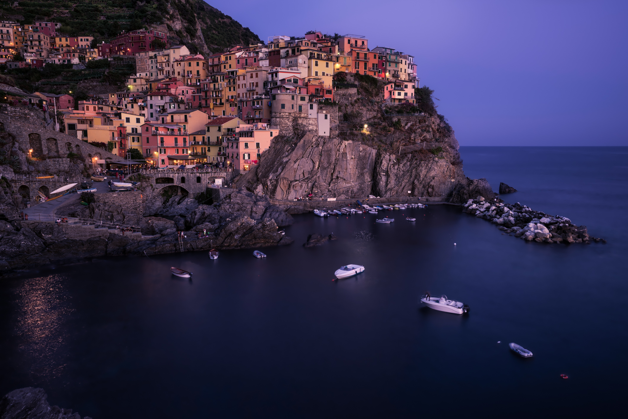 A stunning twilight over Manarola