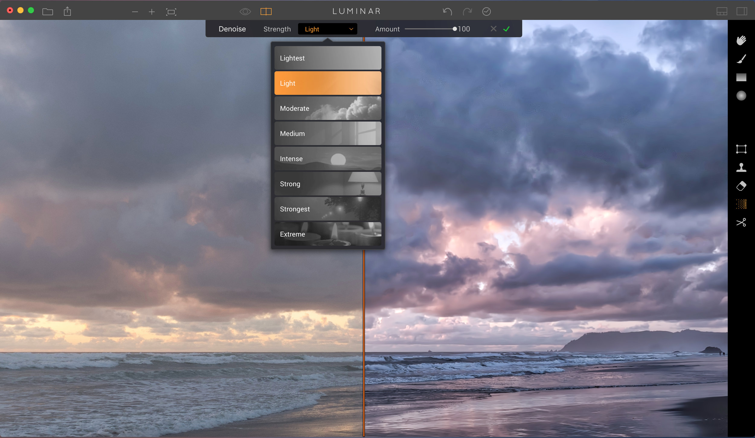 Chose the level of noise reduction that your photo needs and it will apply across the entire image. You can also drag the slider to reduce the intensity.