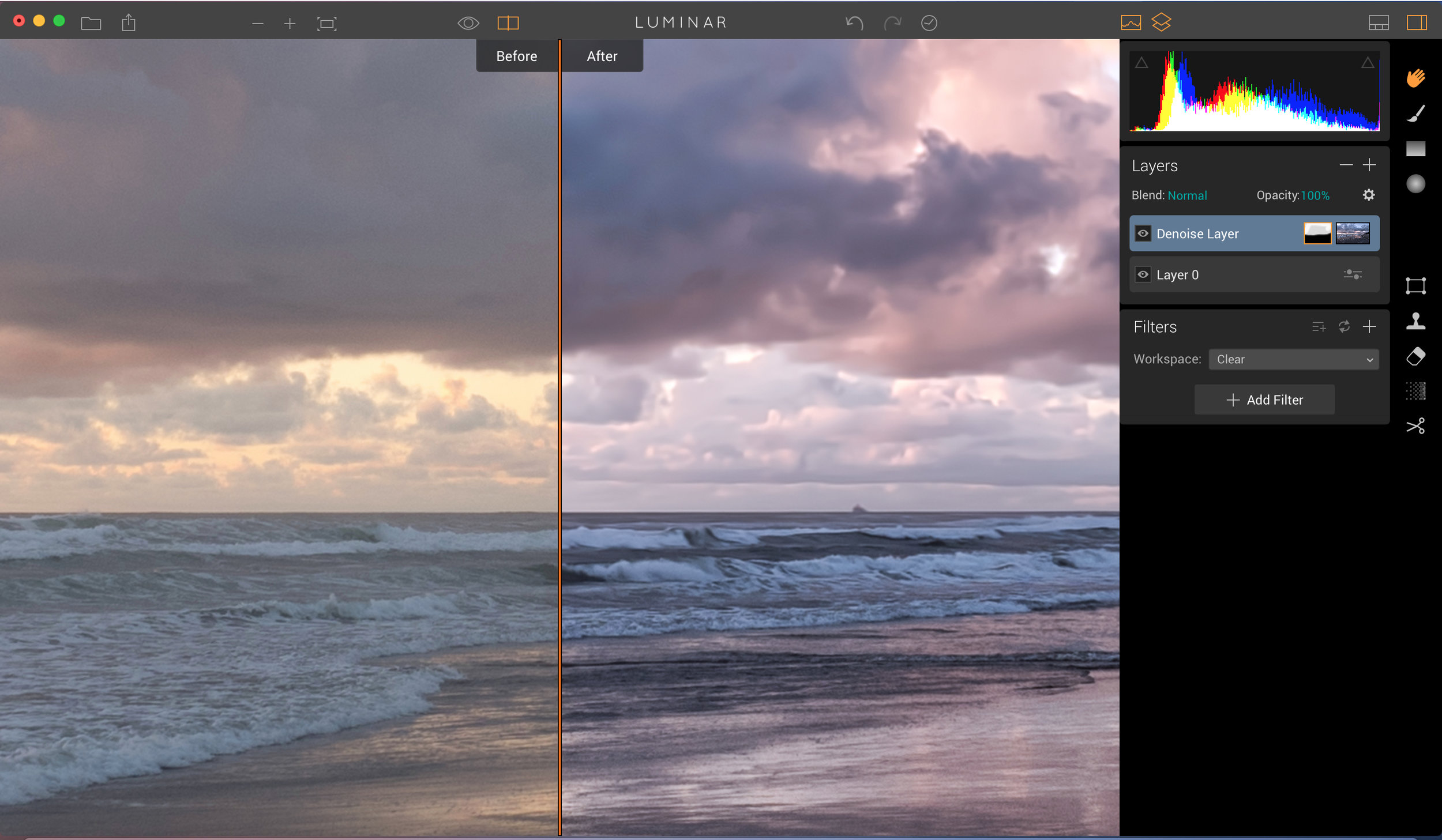 Here's a zoomed in look at the final image after applying noise reduction to the sky with a brush. That left me with Smooth skies and yet I maintained some of the detail in the water and on the beach.