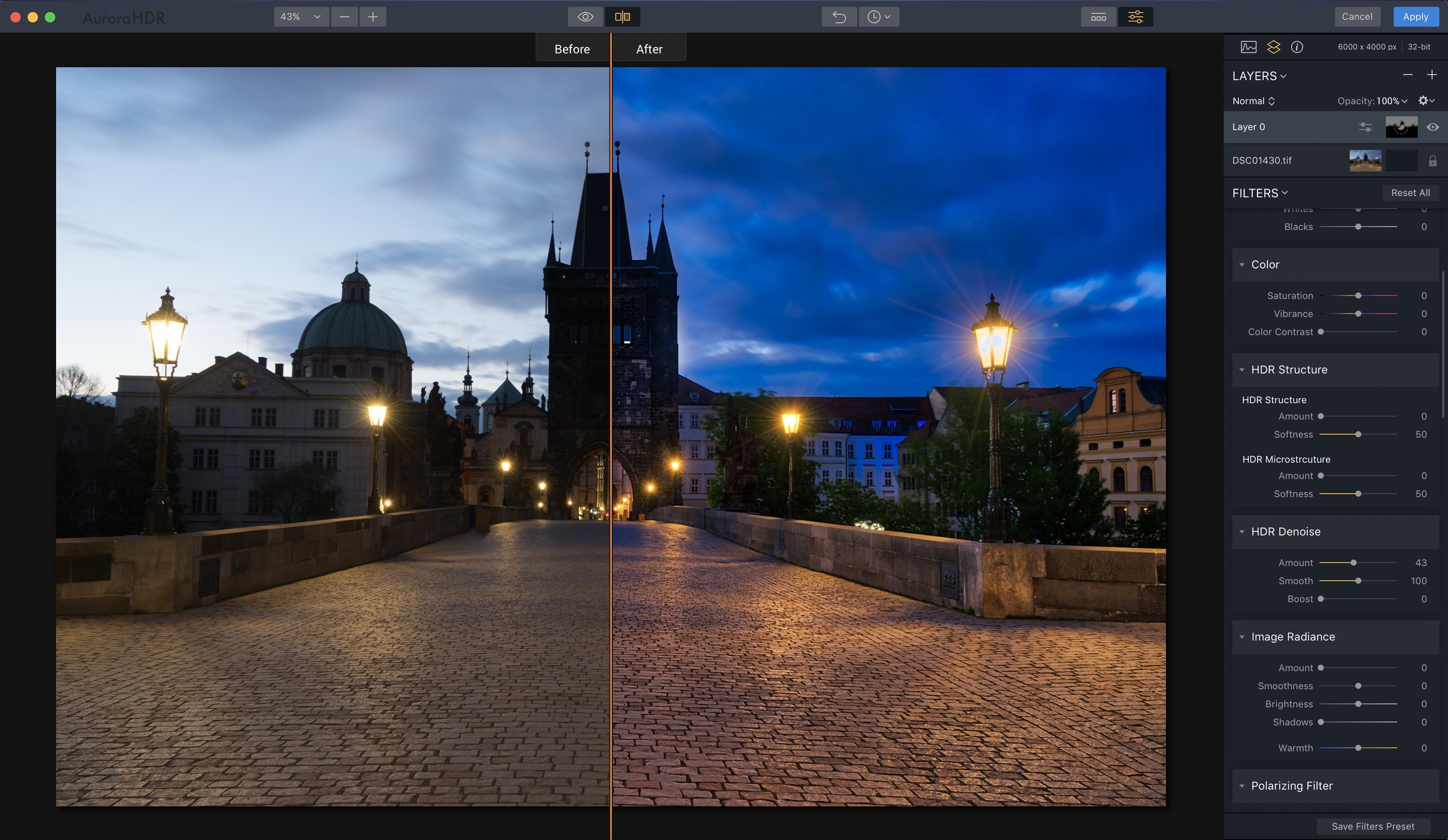 Here's a before/after compare so you can see that you can obviously make your own stylistic choices once you start moving filters around.