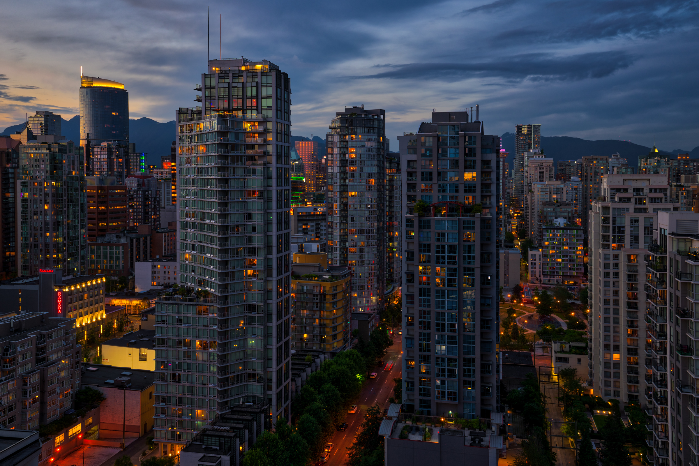 Evening falls on Vancouver, Canada