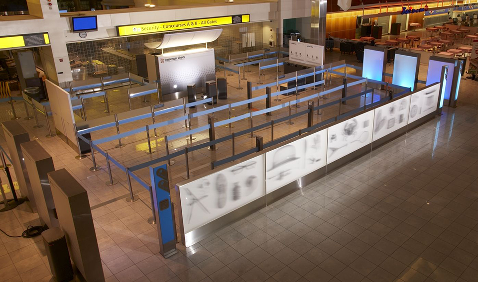 Checkpoint prototype at BWI Airport, photo by Nicholas Zurcher, IDEO