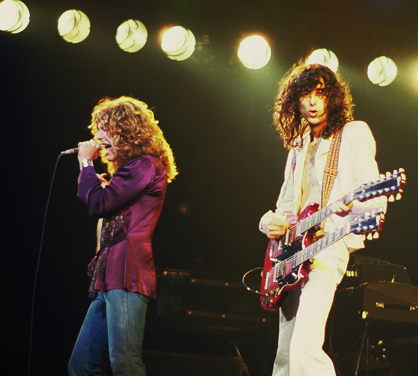Robert Plant and Jimmy Page, 1977. Courtesy of the Shelley Archives.