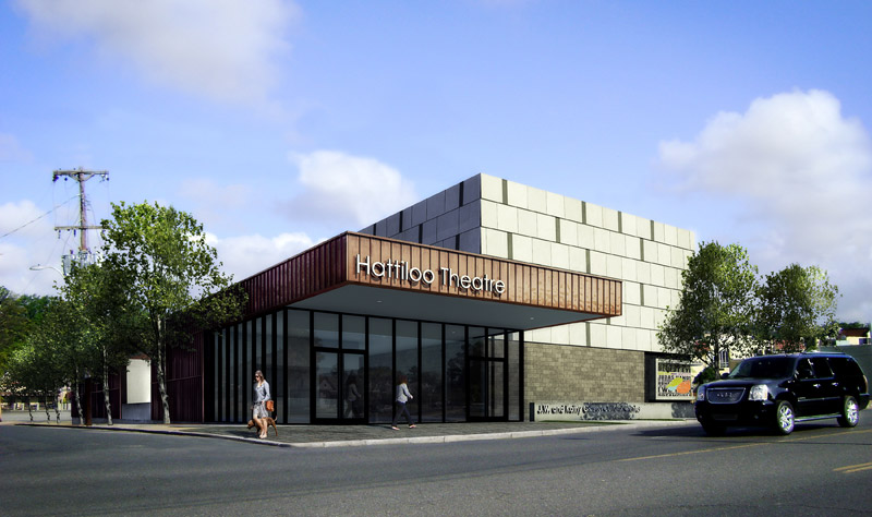 Artist rendering of the new Hattiloo Theatre, designed by Archamania. The building is currently under construction on the northwest corner of Monroe and Cooper, just north of The Circuit Playhouse.