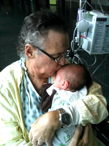"""My father, Steve Nadigel z""""l (1944-2010) with his first grandson."""