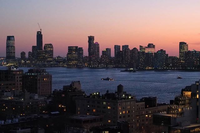 New Jersey skyline with some NYC foreground at sunset today.