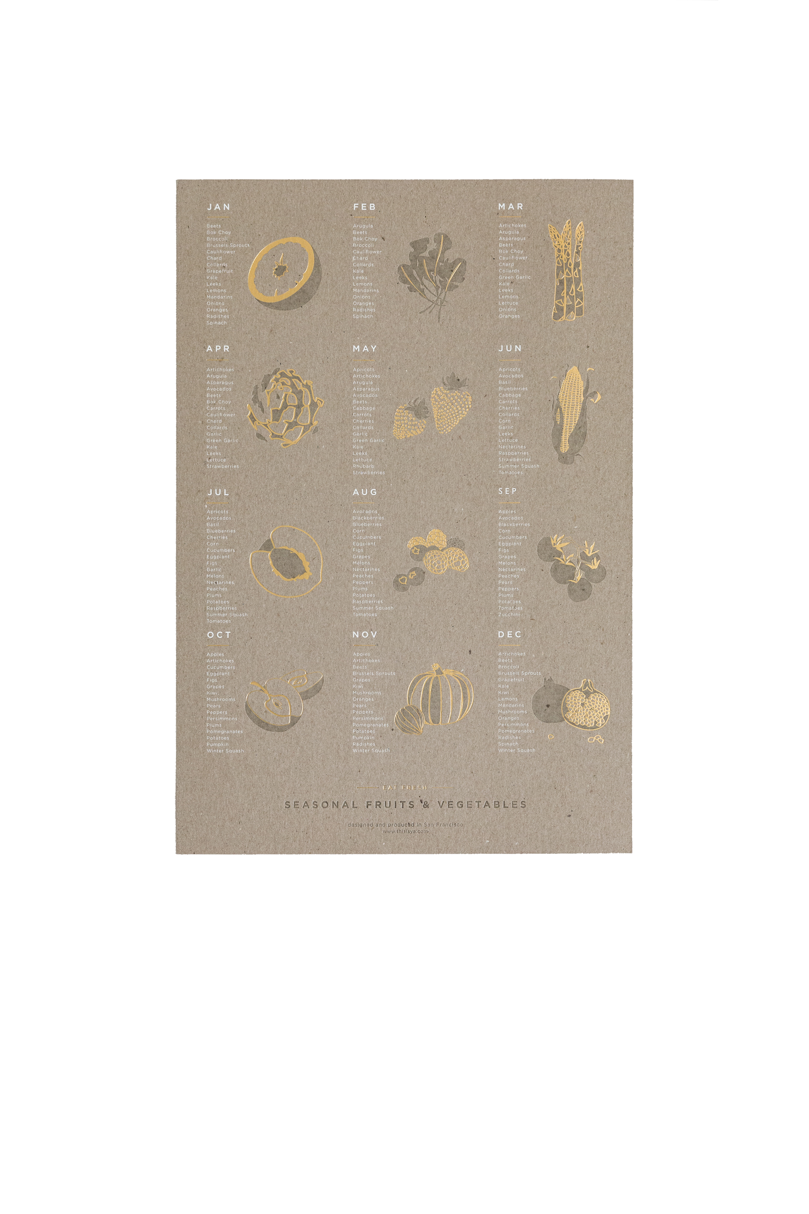Fruit Vegetable Poster Chipboard Young America Creative
