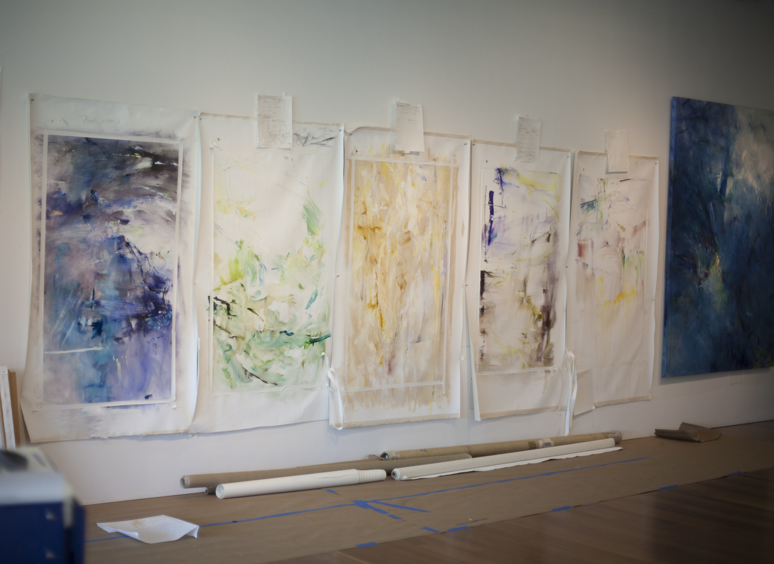 Paintings beginnings, inspired by Gloria's new works