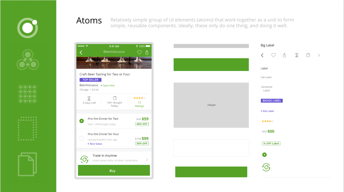 Atomic Design - Brad Frost's Atomic Design helped us decompose the deal page into atoms, molecules, organisms, and templates, which enabled us to create a design system in a more deliberate and hierarchical manner by clean separation between structure and content.