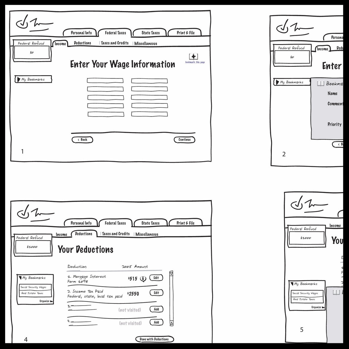 DESIGN & PROTOTYPING - Based on the hypothesis that users were scared to skip, I designed alternative user navigation frameworks, landing page designs and bookmarking capabilities.I iterated, prototyped and usability tested the above concepts in the usability lab with the help of senior designers and user researchers.