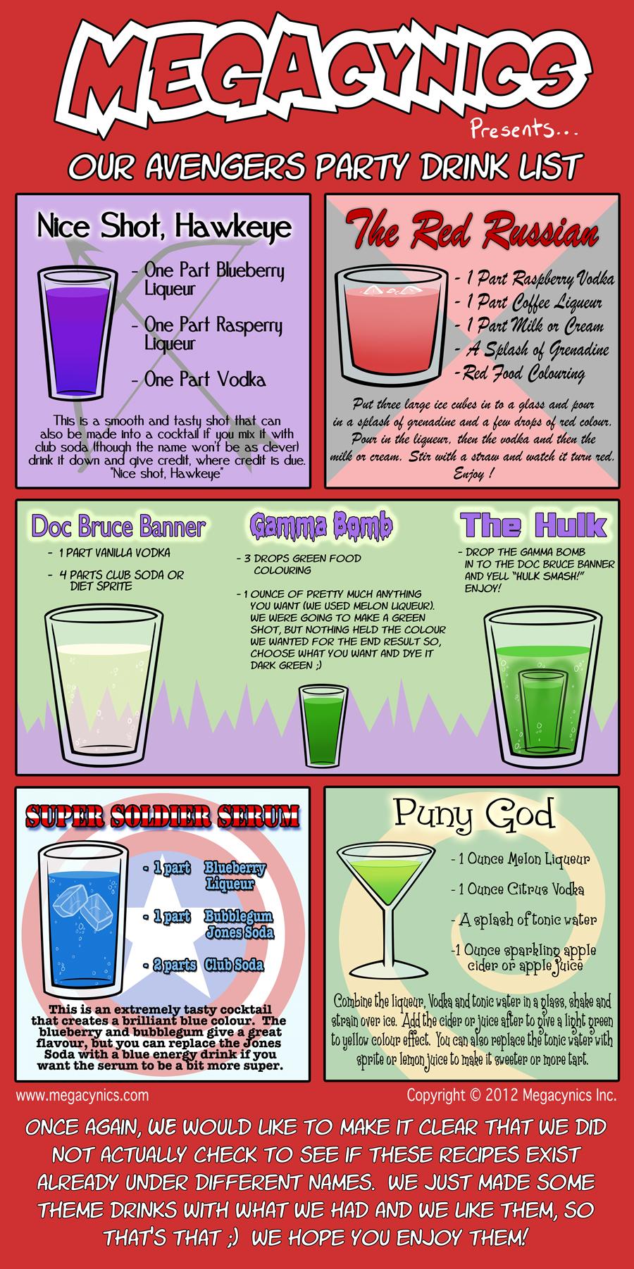 The Avengers Drink List