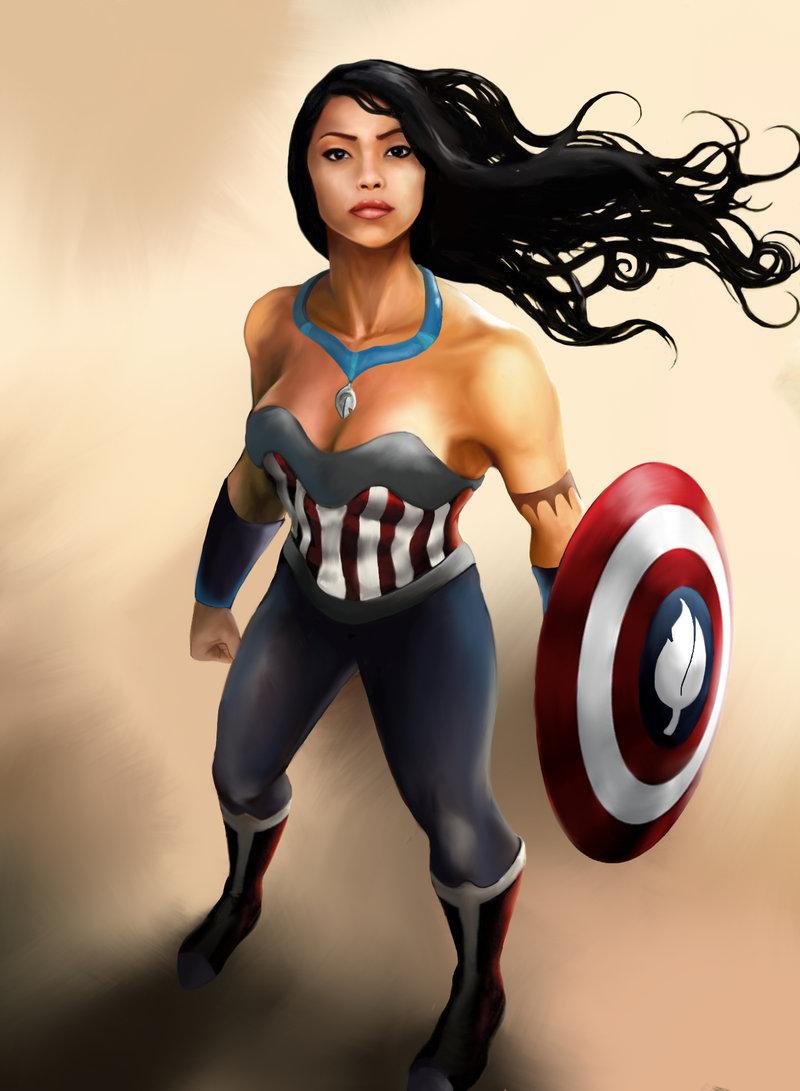 Pocahontas as Captain America