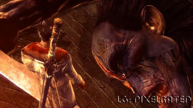 Standing over a beaten demon