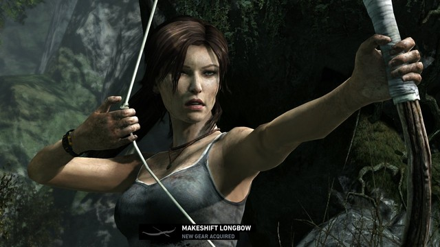 Seems like they opted for Lara's signature weapon this time around to be a bow & arrow as opposed to her dual pistols of TR past.
